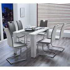 Tischgruppe Ahaus Genf 1 Esstisch 4 Schwingstühle weiß Hochglanz und grau Chrom