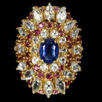 Unheated Oval Kyanite 8x6mm Aquamarine Rhodolite Garnet 925 Sterling Silver Ring