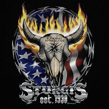 Sturgis Bike Week T-Shirt XL Cow Skull Flames USA Flag Motorcycle Black Hills