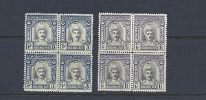 BAHAWALPUR 1945 OFFICIALS (SG D17-D18) F/VF MNH blocks of 4