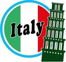 "Pizza Tower Italy Europe Travel Flag Car Bumper Sticker Decal 5"" x 5"""