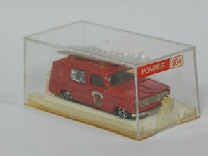1974 Dodge Pompier Fire Engine Truck Majorette 204 1:80 Made in France with Box