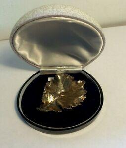 Vintage Gold on Silver Hazel Leaf Brooch Tillia Danmark Georg Jensen 1965