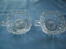 Pair Fostoria Elegant Depression American Square Glass Nappy Nappies With Handle
