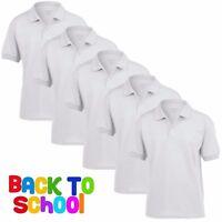 5 Pack Childrens WHITE Dryblend Jersey POLO Shirt Boys Girls Uniform School PE