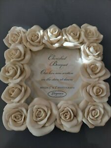 cherished bouquet our wedding white Rose's picture frame resin