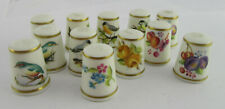 More details for group of 12 hand painted royal worcester thimbles; birds, flowers, fruit, signed