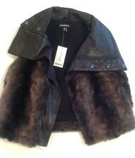 NWT bebe genuine leather collar and trim faux fur vest