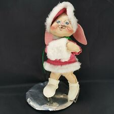 "Annalee Holiday Christmas Bunny Rabbit ice skater 12"" pink Hat Sweater Vintage"