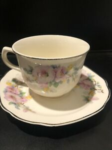 Vintage Crooksville China Co. Spring Blossom Cups & Saucers