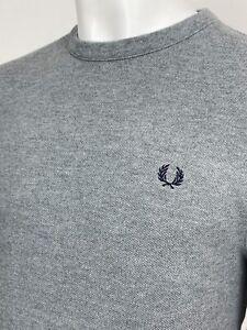 Fred Perry   Piqué Crew Sweat Pullover Medium (Grey) Mod 90's Casuals Terraces