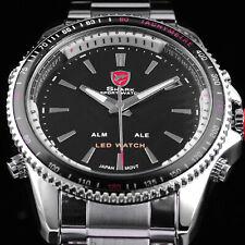 SHARK 43mm Men's LED Digital Date Day / Analog Quartz Stainless Black Dial Watch
