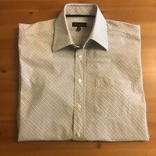 "TOMMY HILFIGER Men's Shirt 16"" M Medium Long Sleeved 2-Ply Diagonal Plaid Check"