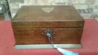 Antique Oak Document Jewellery Box + key     VGC