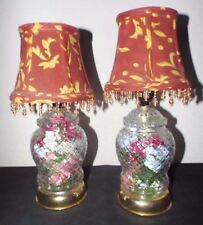 LAMPS A PAIR GLASS FILLED SILK FLOWERS FLORAL DISPLAY GINGER JAR VANITY LAMPS