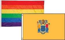 3x5 Gay Pride Rainbow & State New Jersey 2 Pack Flag Wholesale Combo 3'x5'
