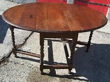 "Vintage oak dining table drop leaf with barley twist legs 58.1/2"" long"