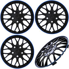 "4PC Set of 16"" ICE BLACK / BLUE TRIM Hub Caps Skin Rim Cover for Steel Wheel Cap"