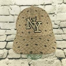 NY New York Mens OSFA Hat Beige Printed Adjustable Baseball Cap Wool Blend