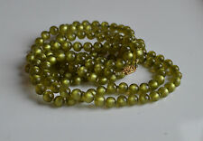 "Vintage 50's pea green moonglow lucite hand knotted necklace 54"" long vintage"