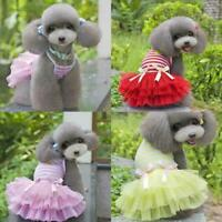 Pet Dog Bow Dress Summer Lace Stripes Vest Skirt Clothes Wedding Puppy Hot A9P8