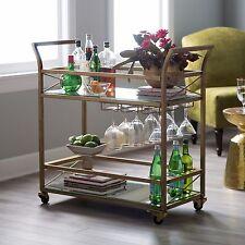 Retro Gold Bar Cart Serving Table on Wheels Beverage Wine Glass Rack Metal Glass