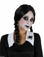 Women's Black Plaited Wig Addams Family Wednesday Halloween Fancy Dress Witch