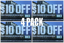 4 PACK Dicks Sporting Goods $10 off $50 promo code online