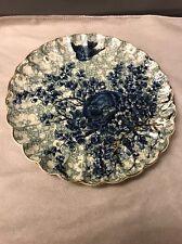 """R C No. 1114 Flow Blue Gold Gilt Blue Bird Nest Flowers 7.5"""" Fluted Plate"""