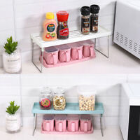 1Tier Kitchen Cupboard Organiser Shelf Storage Support Pantry Stand Jar Racks