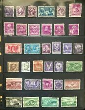 Lot of 3c cent US Postage Stamps - Cancelled/Used off paper violet, green, brown