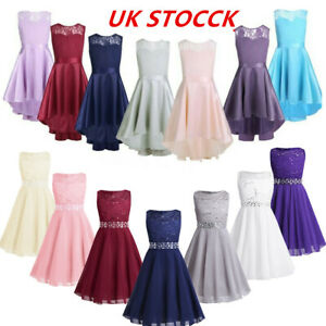 UK Flowers Girls Princess Dresses Formal Party Pageant Wedding Bridesmaid Maxi