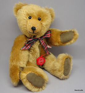 Hermann Original Teddy Bear Gold Mohair Plush Hang Tag 28cm 11in Plaid Bow