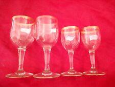 4 anciens verres à vin ou liqueurs, bords peignés dorés !