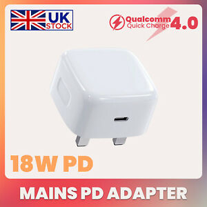 UK Plug PD 18W USB-C Type C Fast Wall Charger Adapter For iPhone 11 12 Pro Max