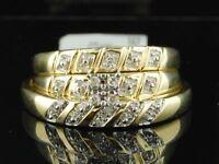 10K Mens Ladies Yellow Gold Diamond Engagement Ring Wedding Band Trio Bridal Set