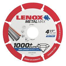 "Lenox 4.5"" x 7/8"" Hole Metal Max Diamond Edge Cut Off Wheel,1,000+cuts #1972921"
