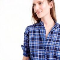 J CREW 0 Top Button Down Shirt Ruffle Trim Neck Popover Ocean Plaid XS Navy Blue