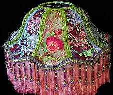 """Victorian Lamp Shade W/Embroidered Flowers Antique Tricotine Net """" Bella Rose"""""""