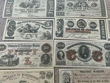 US Confederate Dollars  Facsimile  $1, $5, $10,$20,$50, $100, $2,$3 and 25 cents