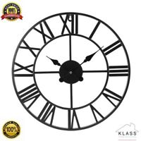 LARGE OUTDOOR GARDEN WALL CLOCK BIG ROMAN NUMERAL OPEN FACE METAL 40/60 CM SIZE