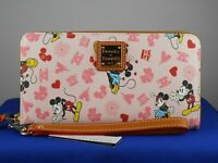 Disney Dooney Bourke Pink VALENTINE'S DAY Mickey Minnie Zip Wallet Wristlet #1