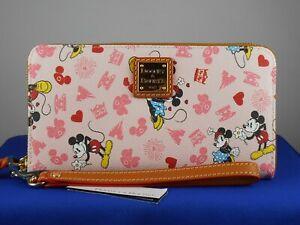Disney Dooney Bourke Pink VALENTINE'S DAY Mickey Minnie Zip Wallet Wristlet #1