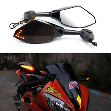 GLOSS BLACK LED TURN SIGNALS MIRRORS FOR YAMAHA YZF600 YZR R6 SUPERSPORT MIRRORS