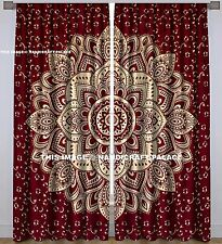 Maroon Gold Ombre Mandala Curtains Indian Tapestry Window Door Valances Curtain