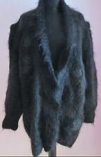 VTG Ladies CARRIER Black Mohair Lined Applique Cardigan Size Small/Medium (j42)