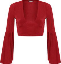 Magliette da donna rosso in poliestere con scollo a v