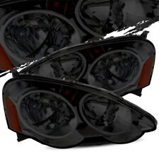 For 02-04 Acura RSX Smoked Amber Crystal Headlights Lamps Left/Right Assembly