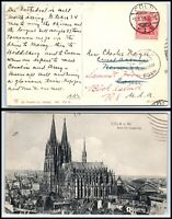 1909 GERMANY Postcard- Coln to Norwich, CT Forwarded to Block Island, RI USA N12