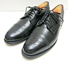 EUC ALLEN EDMONDS SANFORD USA SZ 9.5B BLACK LEATHER CAP TOE BROGUE DRESS OXFORDS